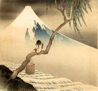 After Hokusai: Flute player and Fuji