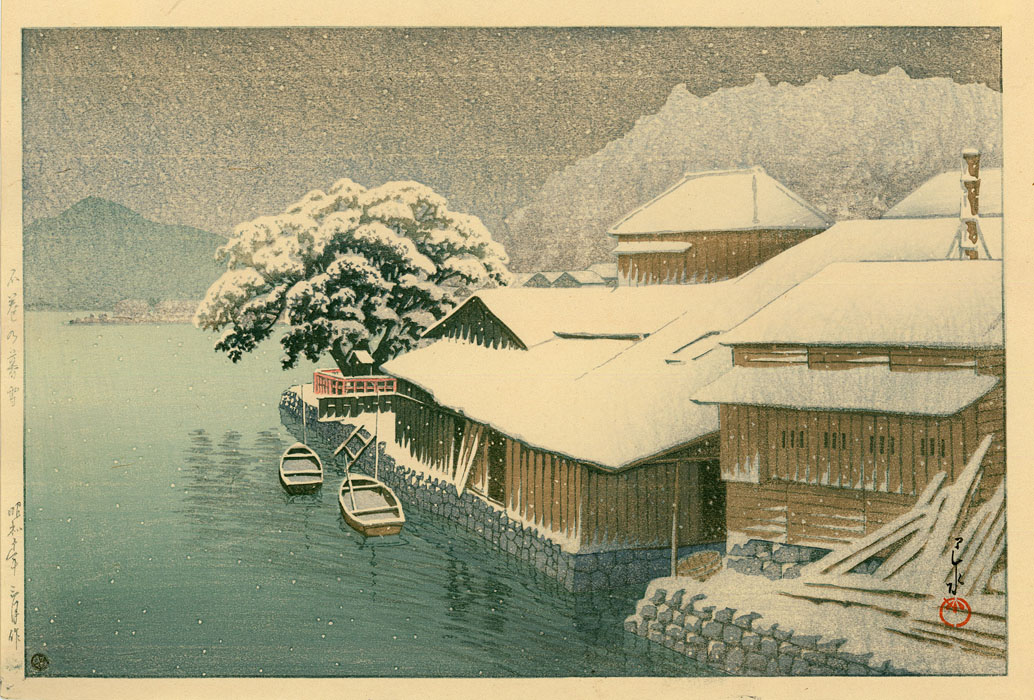 Hasui: Snow covered village