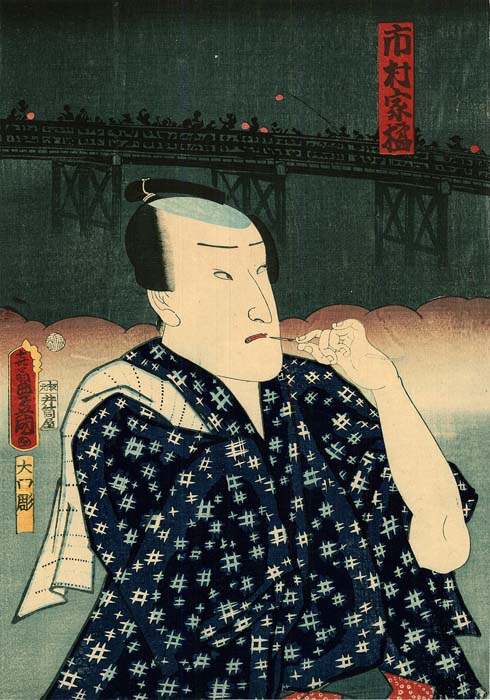 Kunisada: Actors in front of a large bridge