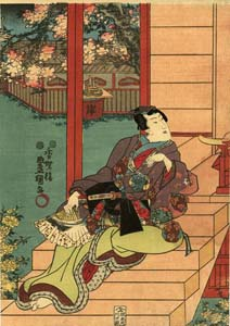 Kunisada: Prince Genji flirting with a princess