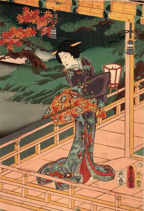 Kunisada: Prince Genji enjoying an autumn night