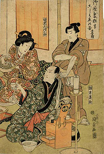 Kunisada: Actors before a performance