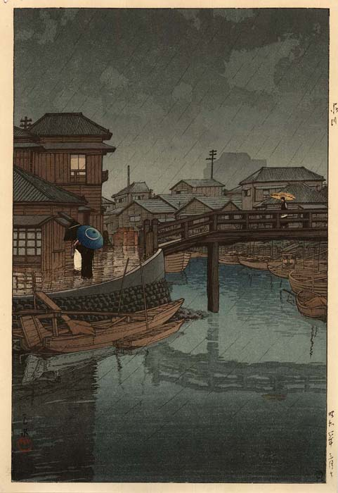 Hasui: Rainy day in Shinagawa