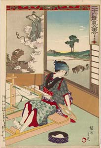 Chikanobu: A Lady at her weaving loom