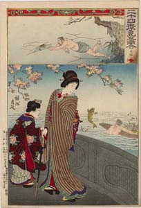 Chikanobu: Elegant beauty and jumping carp