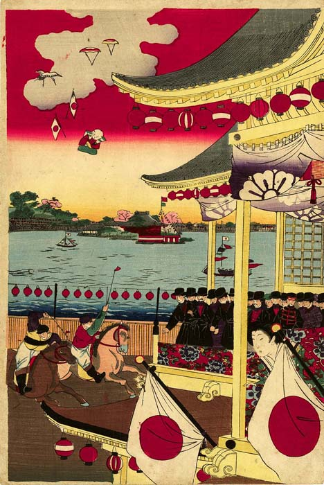 Chikanobu: The horse race at Ueno Shinobazu