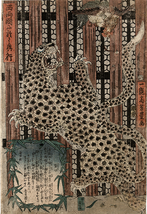 Yoshitoyo - Leopard attacking a cock