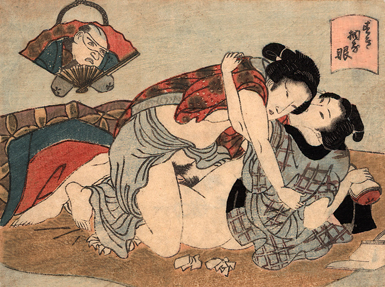 Utagawa school - Lovers on a futon