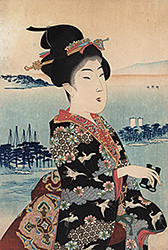 Chikanobu - Elegant beauty watching a coastal landscape
