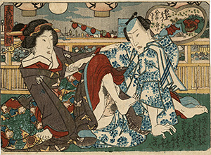 Utagawa school - Lovers under lanterns