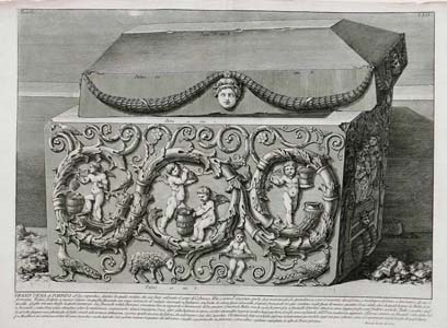 Piranesi -Antichitá Romane -  Large porphyry sarcophagus