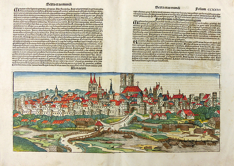 Earliest printed view of Munich from the first edition of the Nuremberg chronicle, 1493
