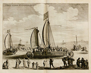 Blaeu: Sail wagon at the sea shore of Scheveningen