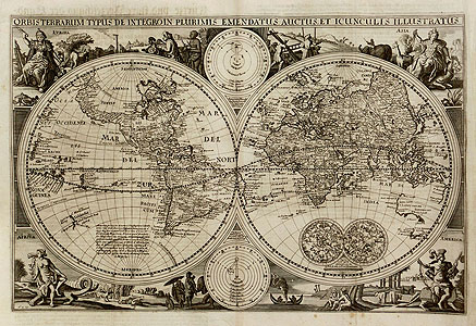 Visscher: World map - two Hemispheres