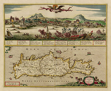Visscher: Crete with the Naval battle of 1656
